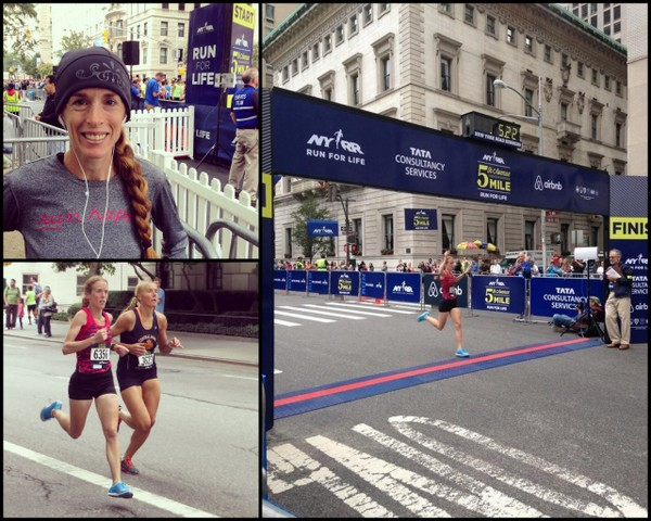 Jennifer St. Jean, first in her age group (35-39) with a time of 5:19 at the 2014 NYRR Fifth Ave Mile.  Photos by Shawn St. Jean, Courtesy of NYRR Media.