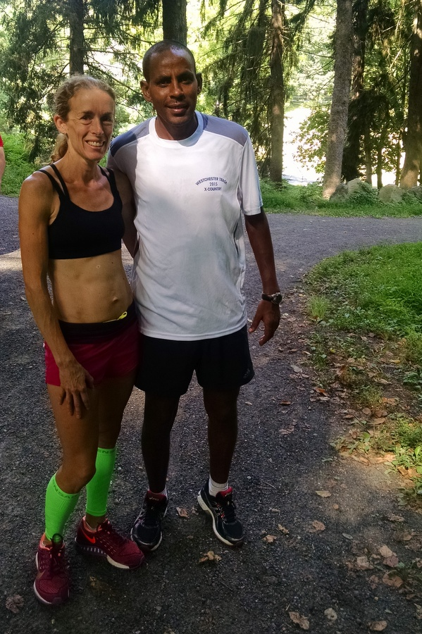 Jen St. Jean, who won silver medal at last week's World Masters Championships, pictured with another World Silver ( 5000m 2001 Edmonton) Medalist, Million Wolde (also Olympic Gold Medalist 5000m Sydney 2000) before hill training session this week